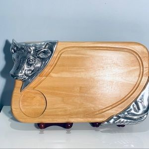 Wooden Cutting Board With Metal Bull Accents